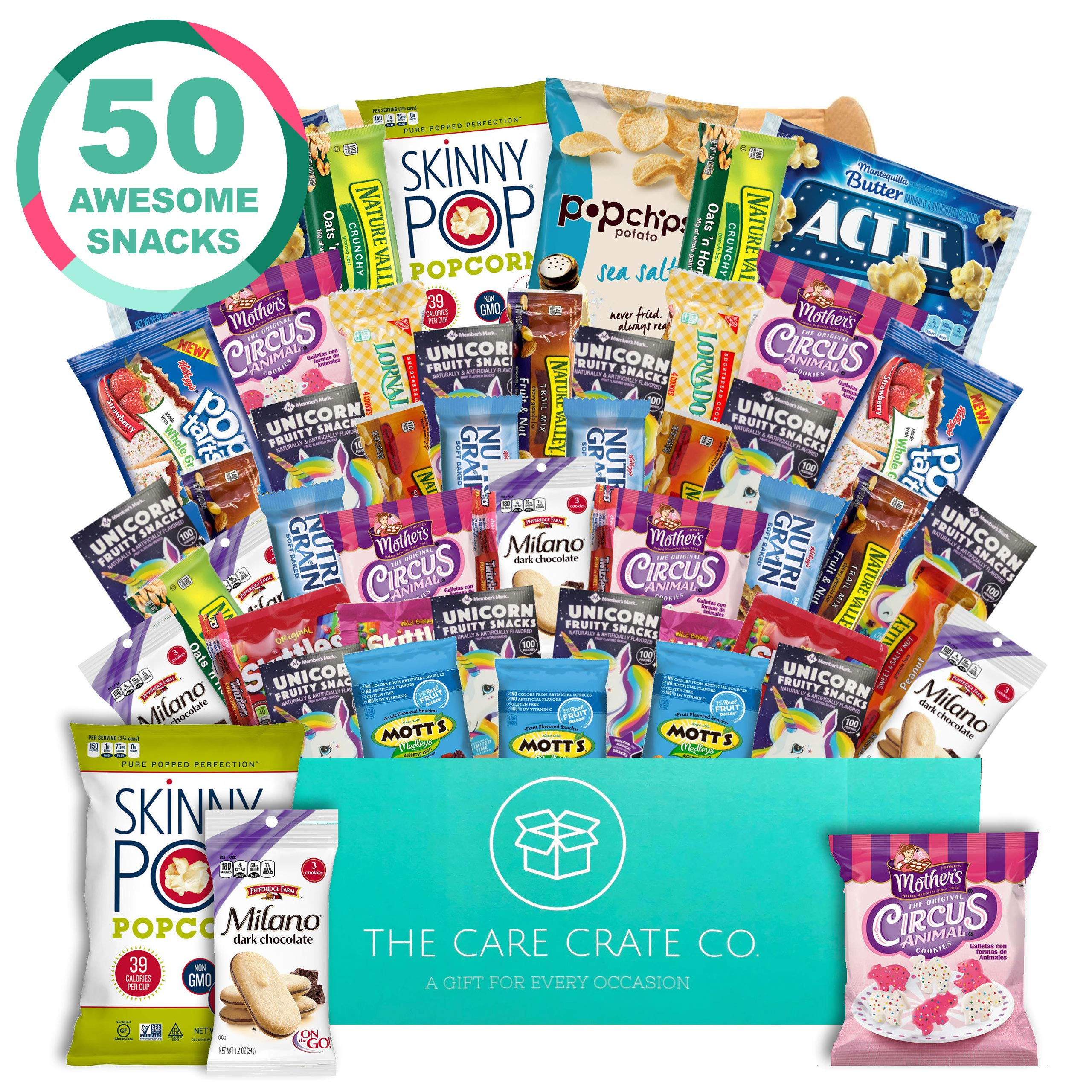 The Care Crate Lady Box Ultimate Lady Snack Box Care Package ( 50 piece Snack Pack ) Chips Variety Pack, Cookies, Gummies, Popcorn