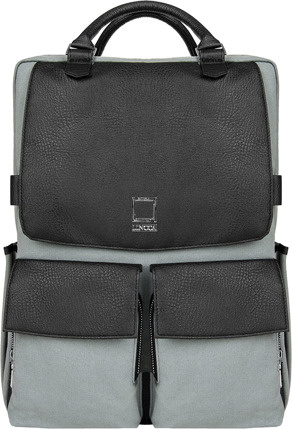 Lencca Novo Canvas and Vegan Leather Backpack Crossover for up to 15.6 Laptops LenNovoGRY