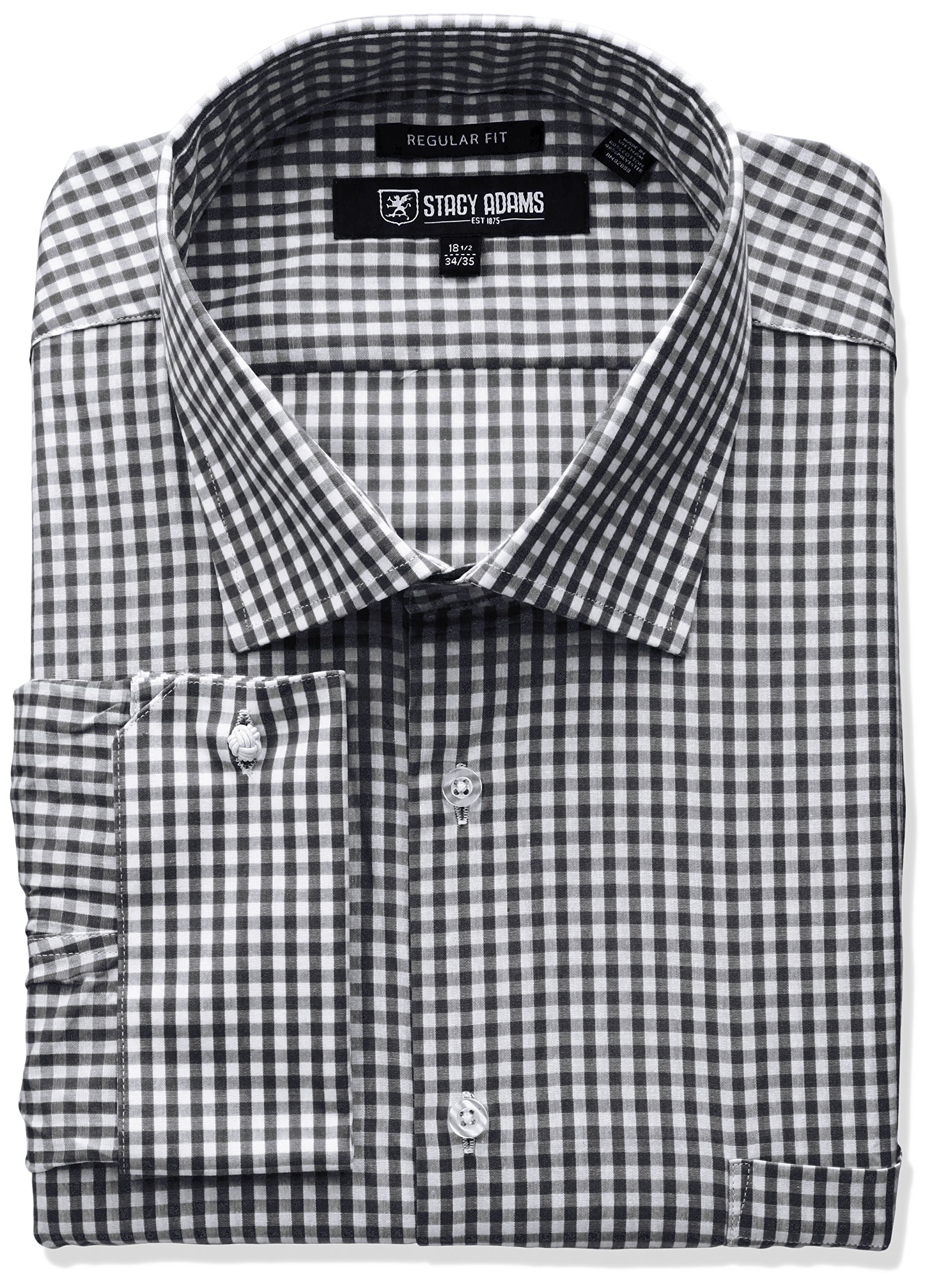 Stacy Adams Men's Big and Tall Gingham Check Dress Shirt, Black, 20'' Neck 38''-39'' Sleeve