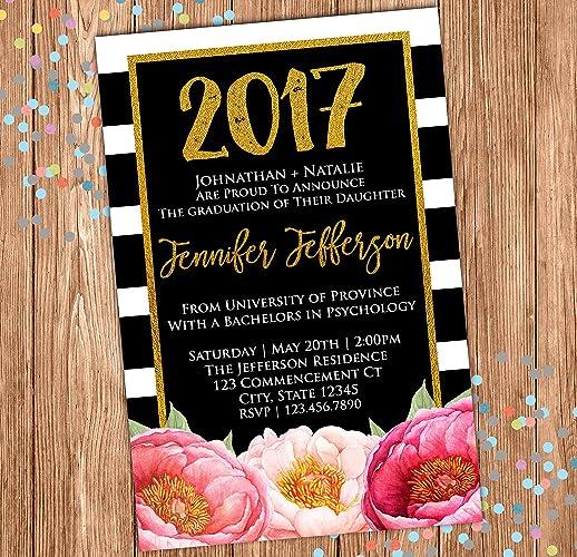 amazon com floral graduation invitation graduation announcement