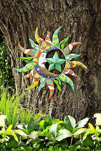 Wind Weather Metal Talavera Sun, Moon and Star Wall Art