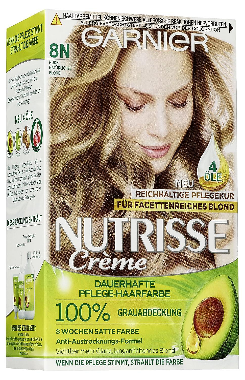 Garnier Nutrisse Creme Coloration 8N für permanente Haarfarbe mit 3 nährenden Ölen, 3er Pack C5409500