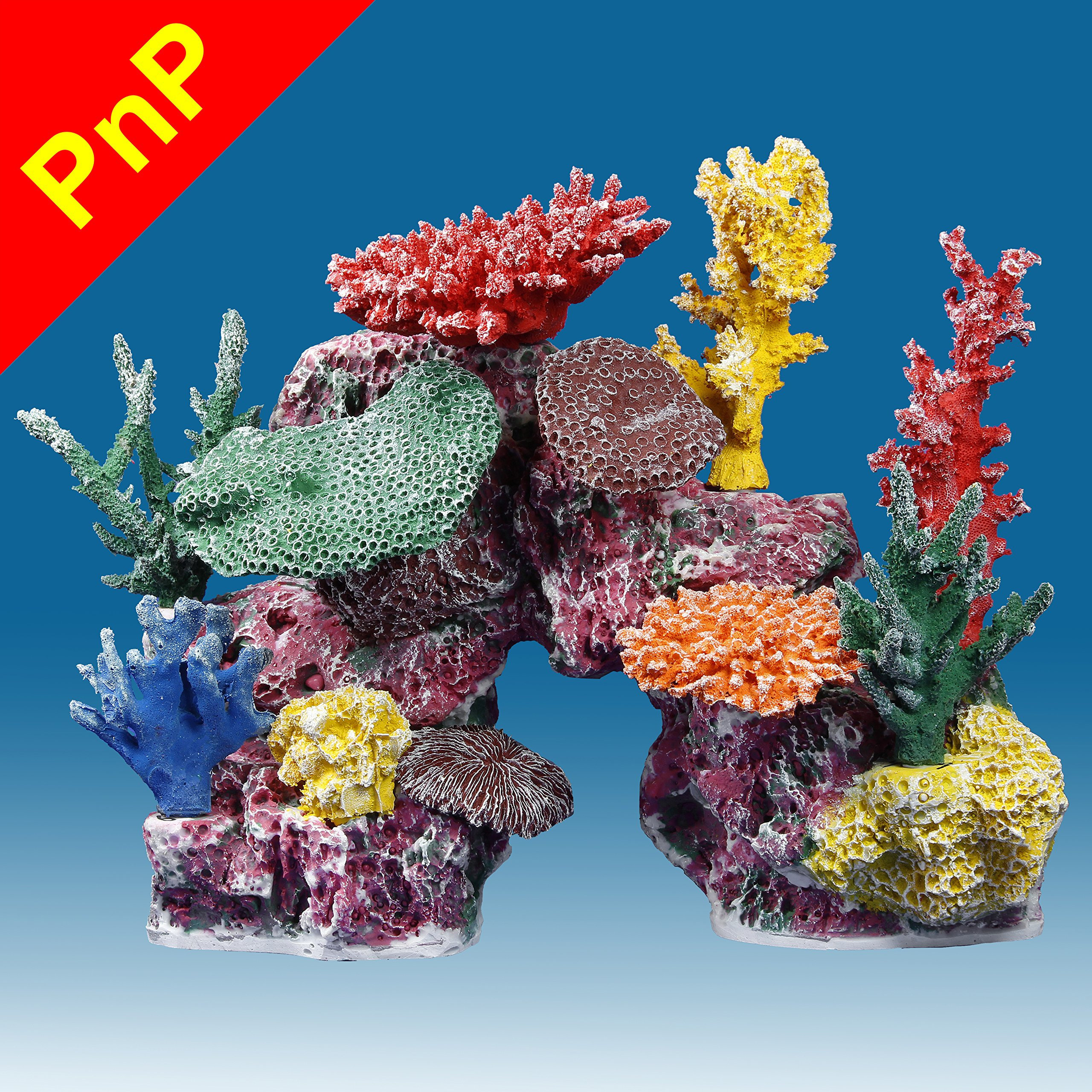 Instant Reef DM048PNP Large Artificial Coral Inserts Decor, Fake Coral Reef Decorations for Colorful Freshwater Fish Aquariums, Marine and Saltwater Fish Tanks by Instant Reef