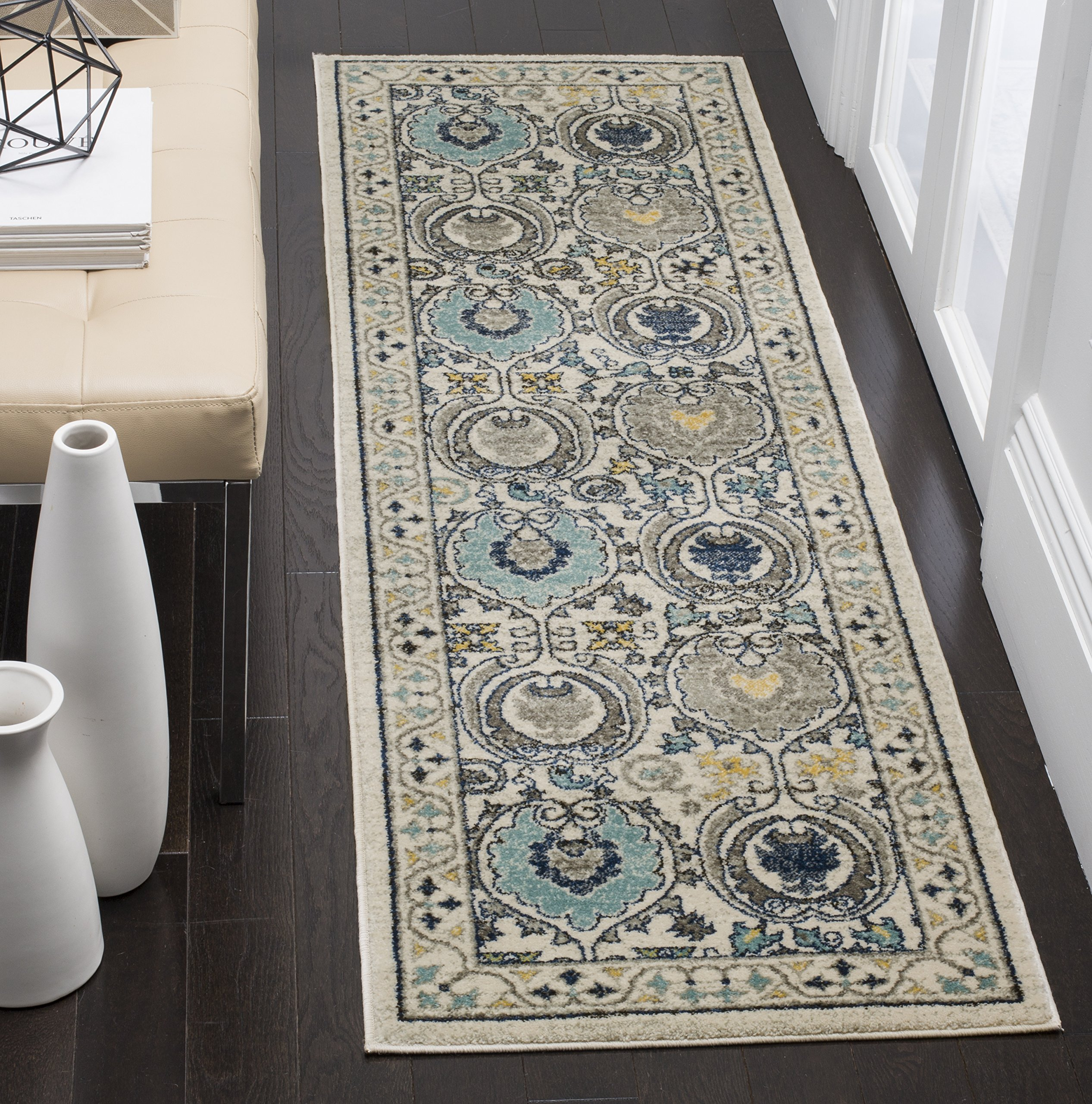 "Safavieh Evoke Collection EVK251D Contemporary Ivory and Grey Runner (2'2"" x 9') - The high-quality polypropylene and jute fibers add durability and longevity to these rugs The power loomed construction add durability to this rug, ensuring it will be a favorite for a long time The unmatched style of this rug's pattern will give your room a contemporary accent - runner-rugs, entryway-furniture-decor, entryway-laundry-room - A14%2Bm8uaIsL -"