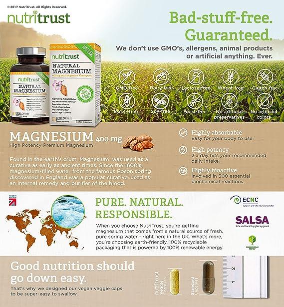 Magnesio Natural NutriTrust - Magnesio fácil de ingerir, de alta potencia, bioactivo, aprobado médicamente - Sin alérgenos, 100% vegano y sin componentes ...
