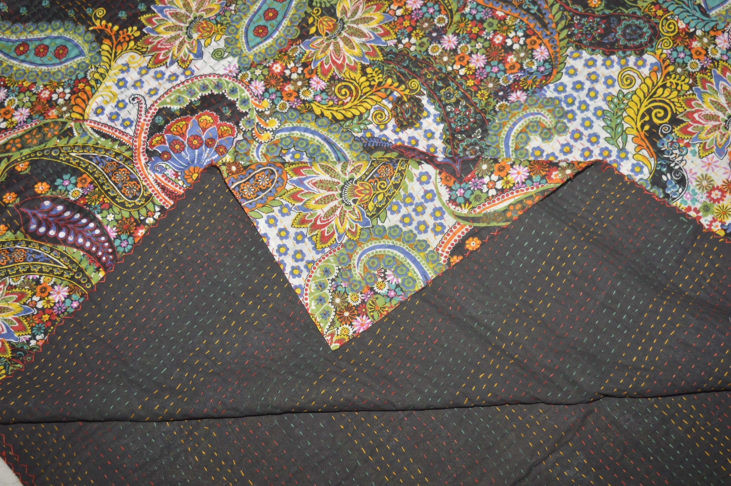 Tribal Asian Textiles Queen Kantha Quilt In Black paisley, Kantha Blanket Bedding Bedspread Throw by Tribal Asian Textiles (Image #3)