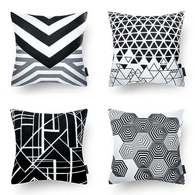 Phantoscope Set of 4 Black Geometric 100% Cotton Throw Pillow Case Cushion Cover 18  x 18  45cm x 45cm