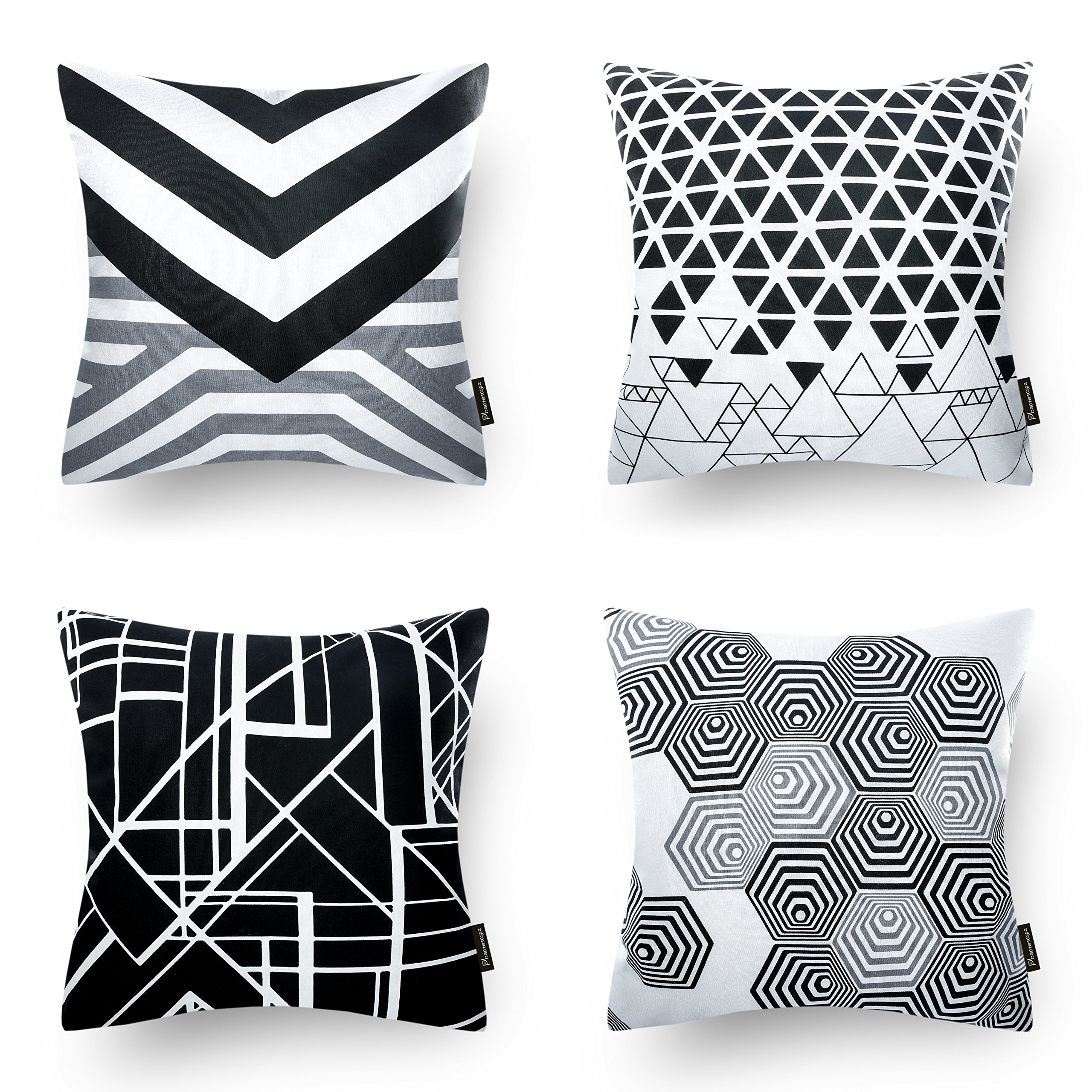 Phantoscope Set Of 4 Black And White Geometric 100 Cotton Throw Pillow Case Cushion Cover 18 X 18 45cm X 45cm Buy Online In Aruba At Aruba Desertcart Com Productid 66906217