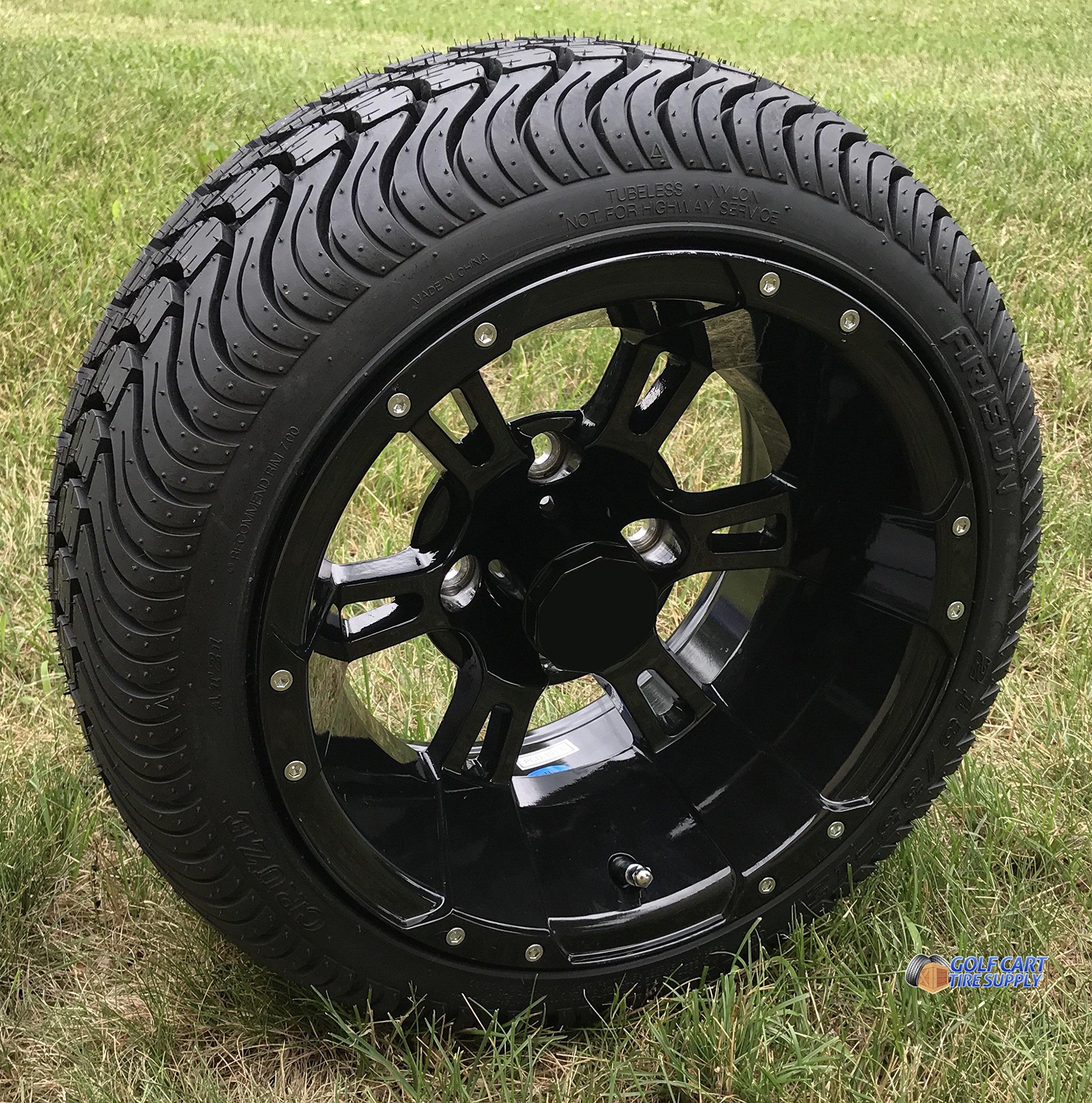 12'' RUCKUS Gloss BLACK Wheels and 215/35-12'' DOT Low Profile Tires Combo - Set of 4 (METRIC LUGS 12MMx1.25 (Yamaha, Star))
