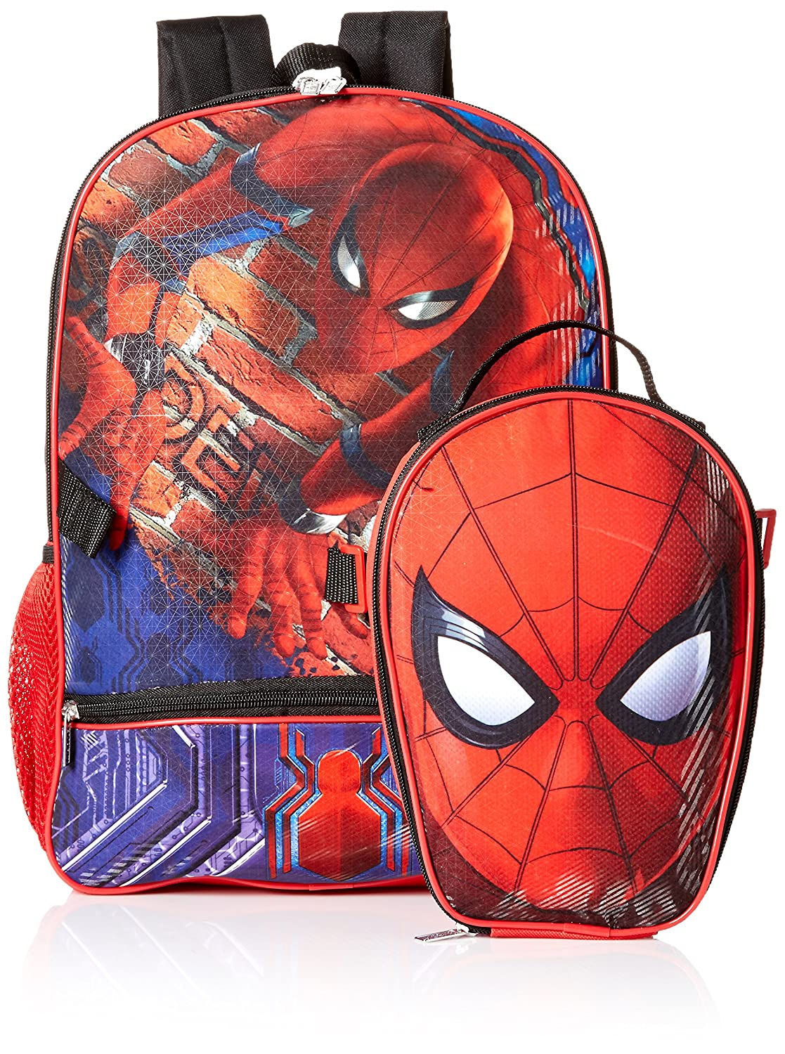 Marvel Boys' Spiderman Backpack with Shaped Lunch, red