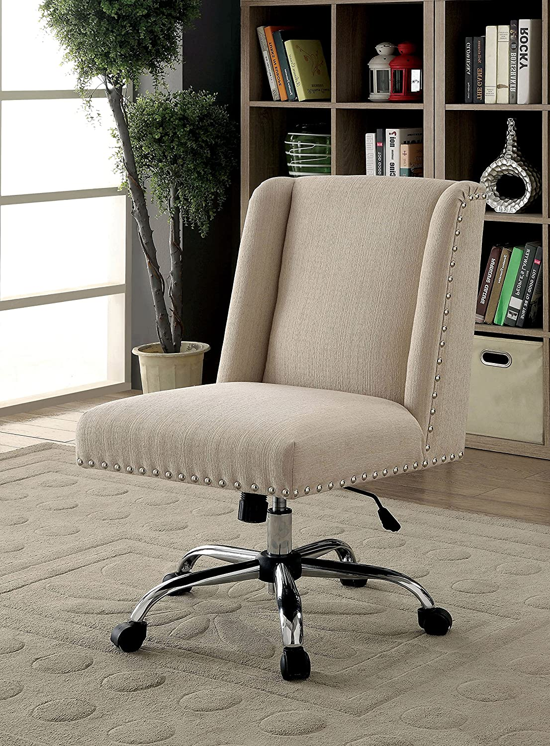 HOMES Inside Out IDF-FC642IV Bronzite Wingback Office Chair Ivory