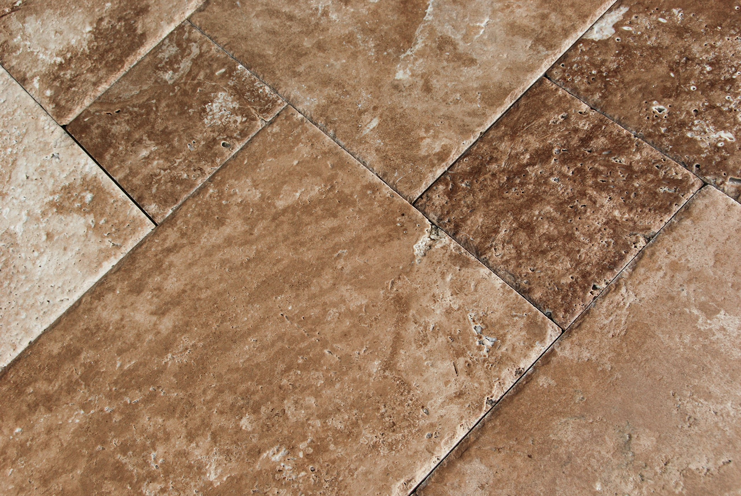 Noce Choclate Travertine Brushed and Chiseled Versailles French Pattern Tiles (LOT of 72 SQ. FT. ( 9 BUNDLES )) by Oracle Tile & Stone