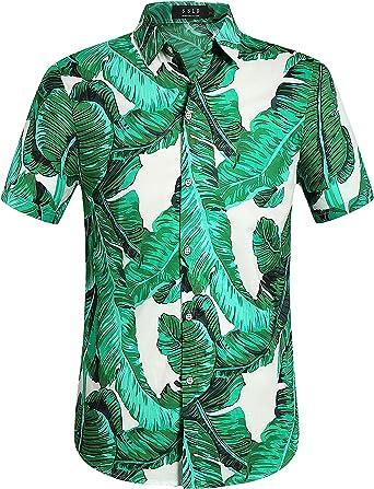 SSLR Camisa Hawaiana Colorida de Manga Corta de Estampado de