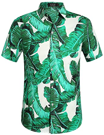 SSLR Mens Banana Leaves Button Down Hawaiian Style Short Sleeve Casual Shirt (Small, Green