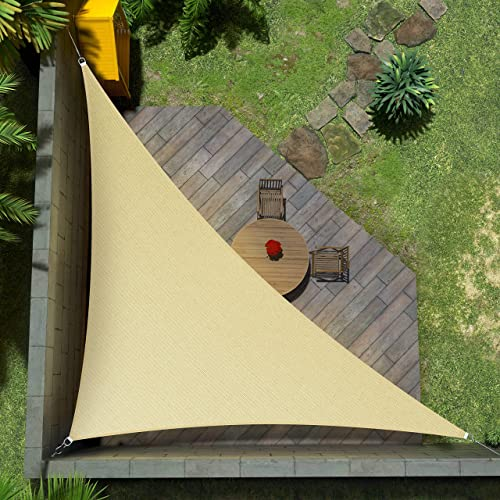 Amgo Custom Size Right Triangle 12' x 22' x 25.1' Beige Triangle Sun Shade Sail ATAPRT16 Canopy Awning