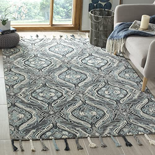 Safavieh Suzani Collection SZN206A Hand-Hooked Grey and Light Blue Wool Area Rug 8' x 10'