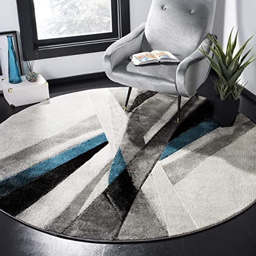 Safavieh Hollywood Collection HLW710D Grey and Teal Mid-Century Modern Abstract Round Area Rug 6 7 in Diameter