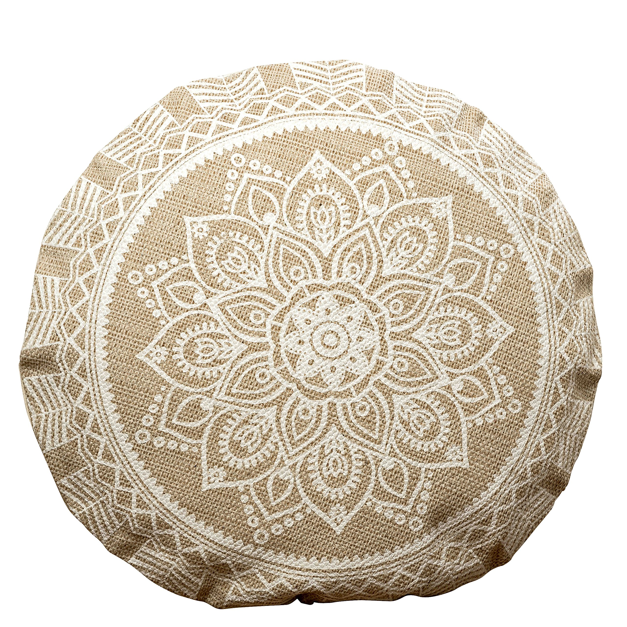 WHW Whole House Worlds The Mandala Floor Cushion, Layered Roundels, Beige and White, Woven Polyester with Cotton Cover, Polyester Fill, 22 Inches Diameter, Sun Blossom Lotus, The Boho Chic Collection by WHW Whole House Worlds