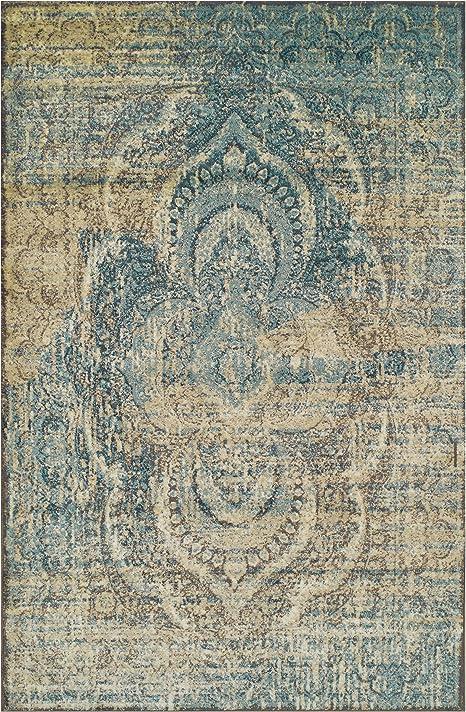 Amazon Com Superior Eddard Indoor Area Rug Super Soft Durable Elegant Vintage Moroccan Pattern Jute Backing Blue Beige 4 X 6 Runner Furniture Decor
