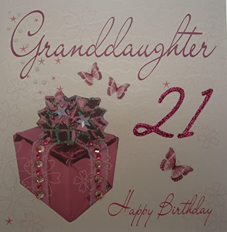 WHITE COTTON CARDS Granddaughter 21 Happy Handmade 21st Birthday Card Pink Present Amazoncouk Kitchen Home