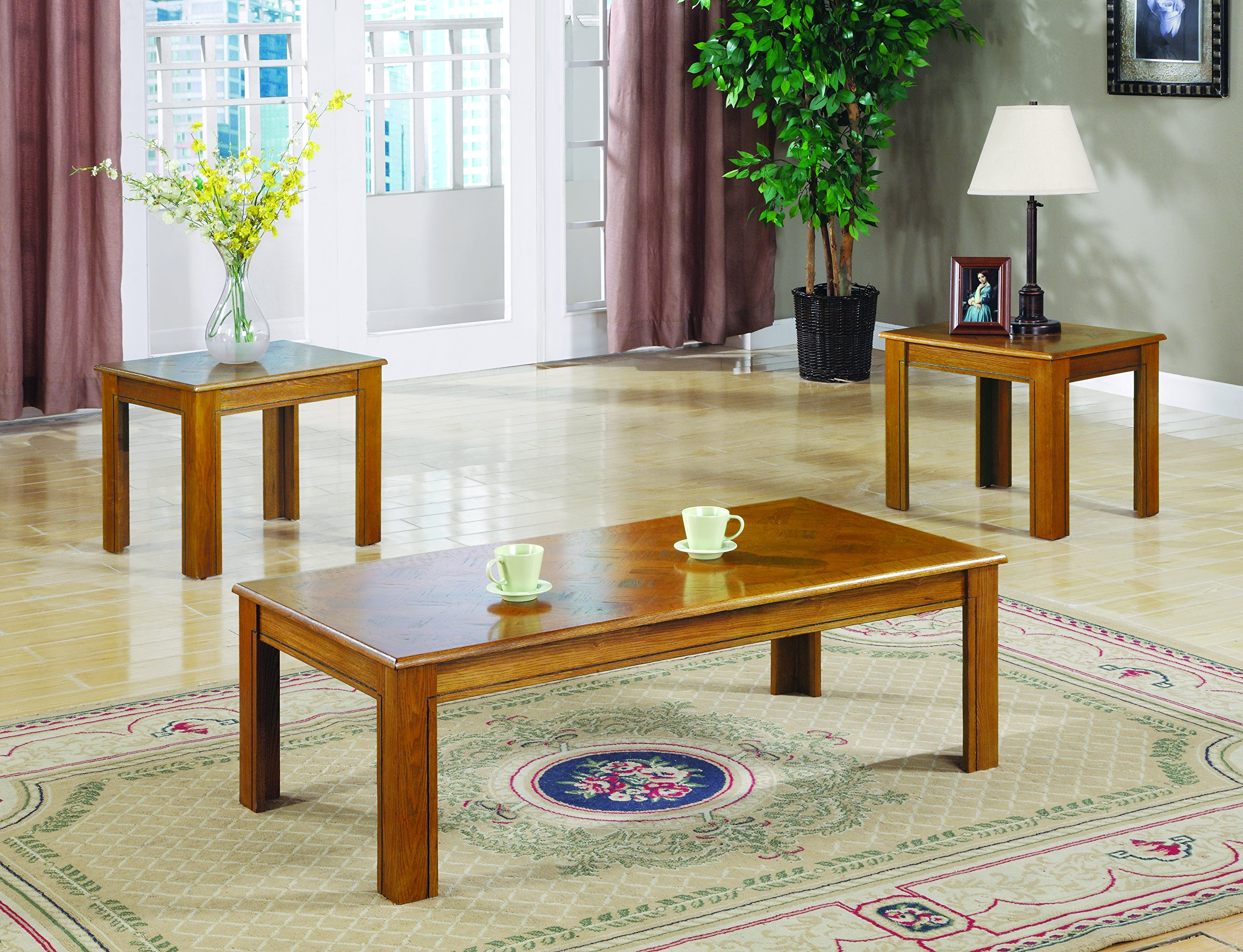 3-piece Parquet Top Occasional Table Set Oak by Coaster Home Furnishings