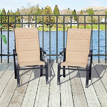 Top Space Wicker Patio Rattan Chair Set 3 Piece Patio Set Chairs Bistro Set Outdoor Furniture Cushion Conversation Set Garden Courtyard 2 PCS, Beige