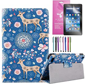 EpicGadget 2019/2017 Amazon Fire 7 Case, Smart Cover Case for Fire 7 Premium PU Leather Folding Folio Stand Case for Fire 7 inch (2019/2017 Release) + 1 Screen Protector and 1 Stylus (Deer Garden)