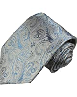 Jeans blue paisley necktie 100% silk tie