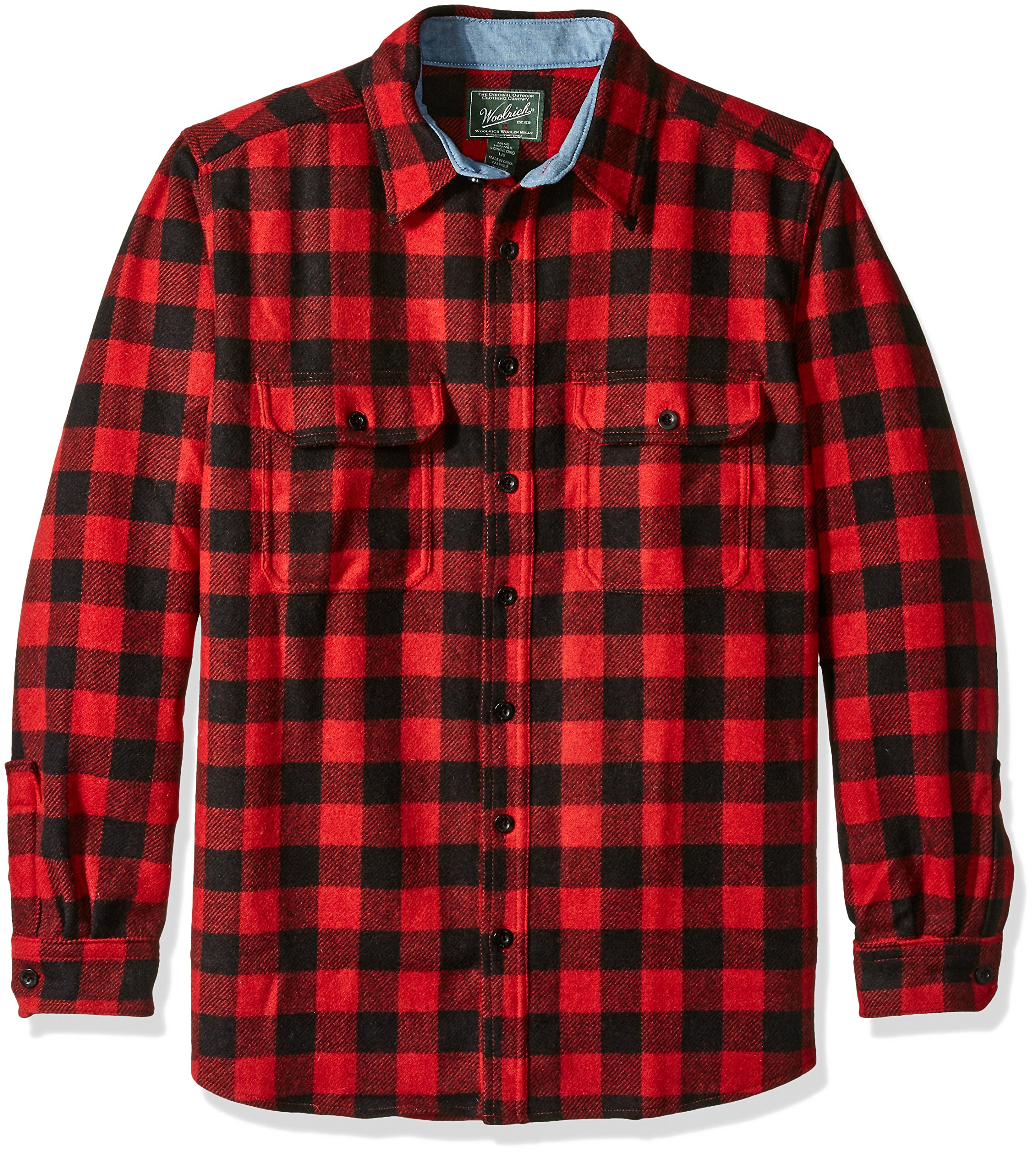 Woolrich Men's Size Wool Buffalo Shirt, Red/Black, Large/Tall