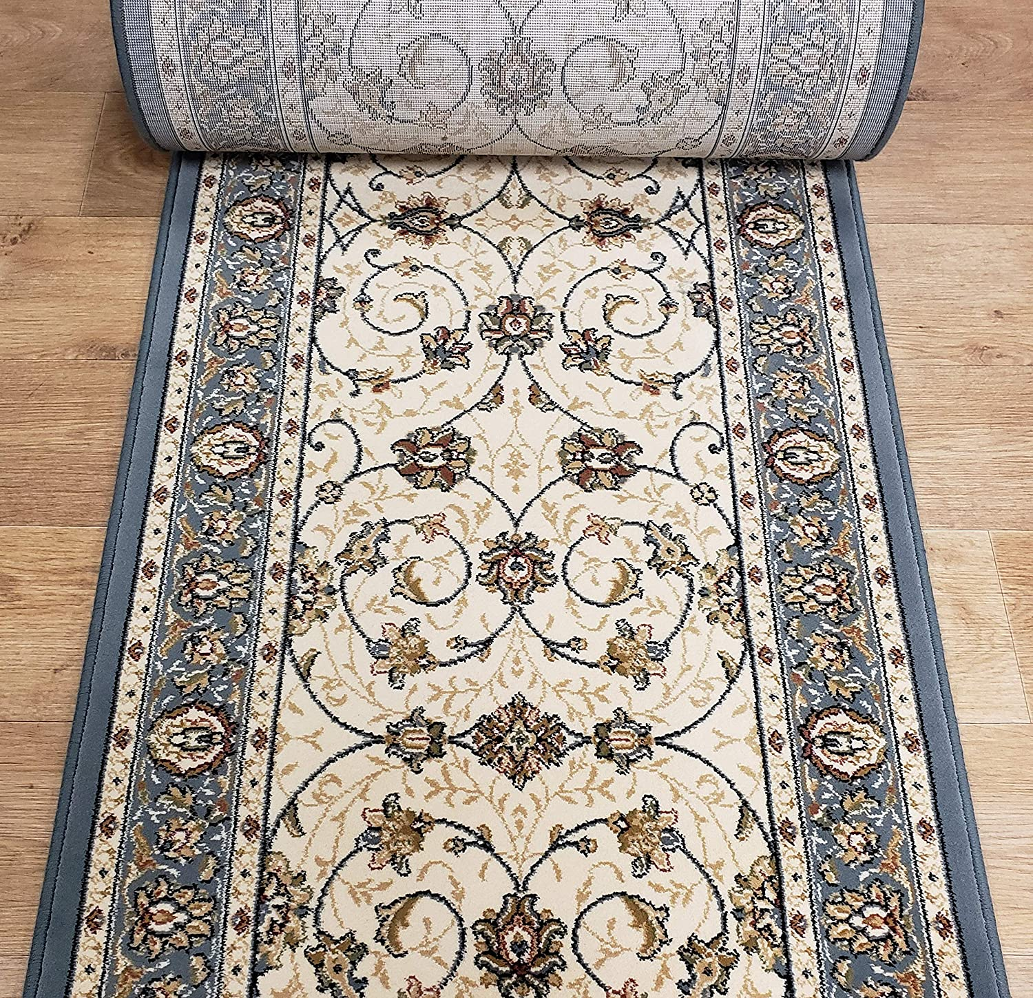 Amazon Com 180027 Rug Depot Traditional Sold By The Foot Stair Runners And Hall Runners 26 Runner By The Foot Ivory Light Blue 1 Million Points 100 Polypropylene Custom Stair Runner Home Kitchen