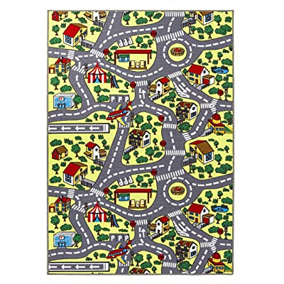 Home Must Haves City Roads/Educational Traffic Blue Cars Reversible Fun Kids Area Rug (8' x 10'), Feet, Multi Color: Kitchen & Dining