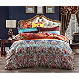3-Piece Bohemian Ethnic Style Vibrant Color Bedding Sets/Collections,Morocco Boho Chic Stripe Pattern Duvet Cover Sets with Shams,Floral Print for Home Decor,Full