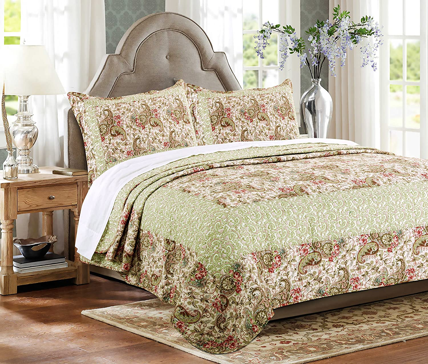 Greenland Home GL-1603ZK 3Piece Voltaire Quilt Set, King, Multicolor