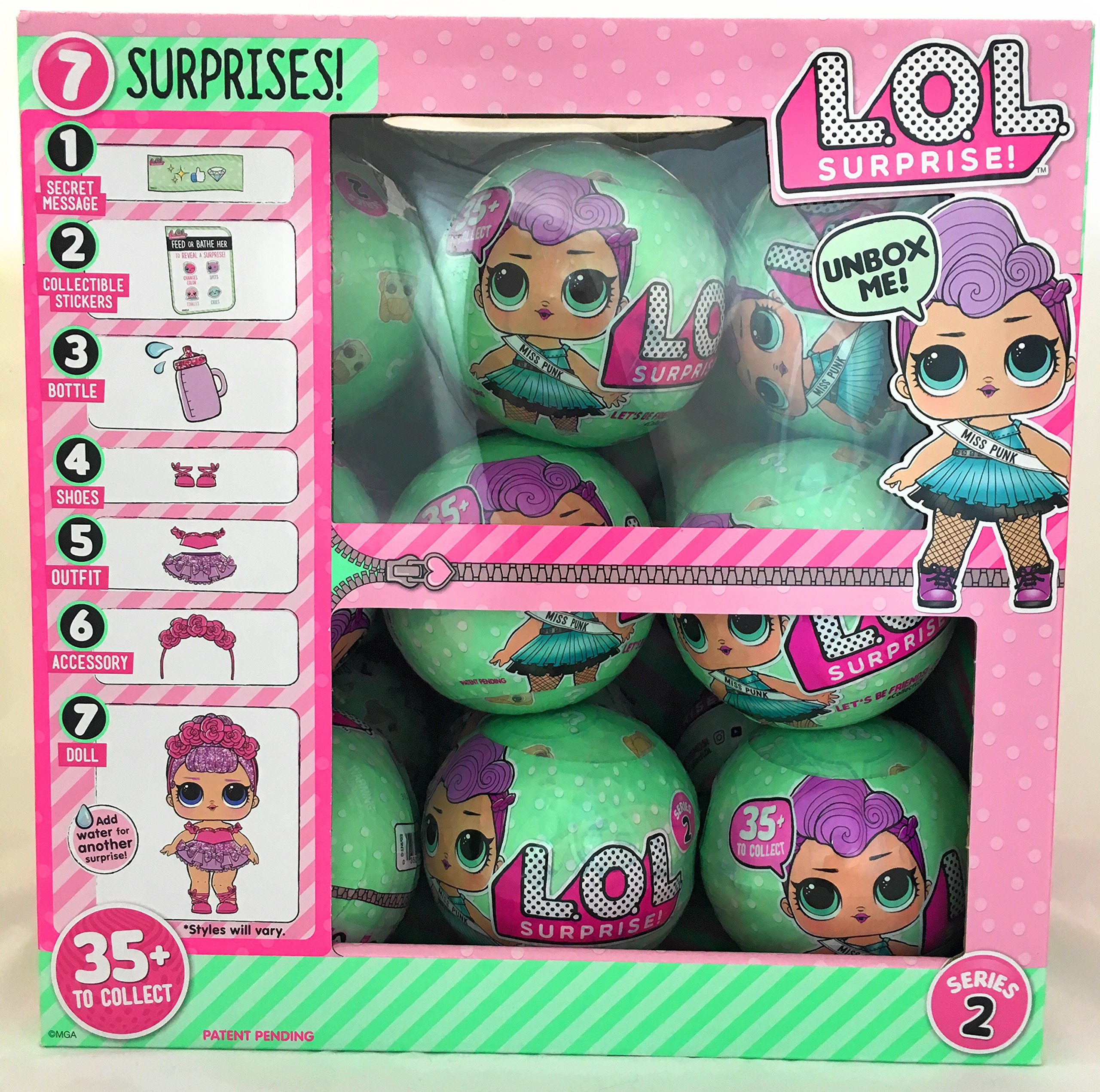 LOL Surprise Lil Outrageous Littles Series 2 Let's Be Friends! Wave 2 Mystery Pack - Multi-Pack of 18 with Display Case