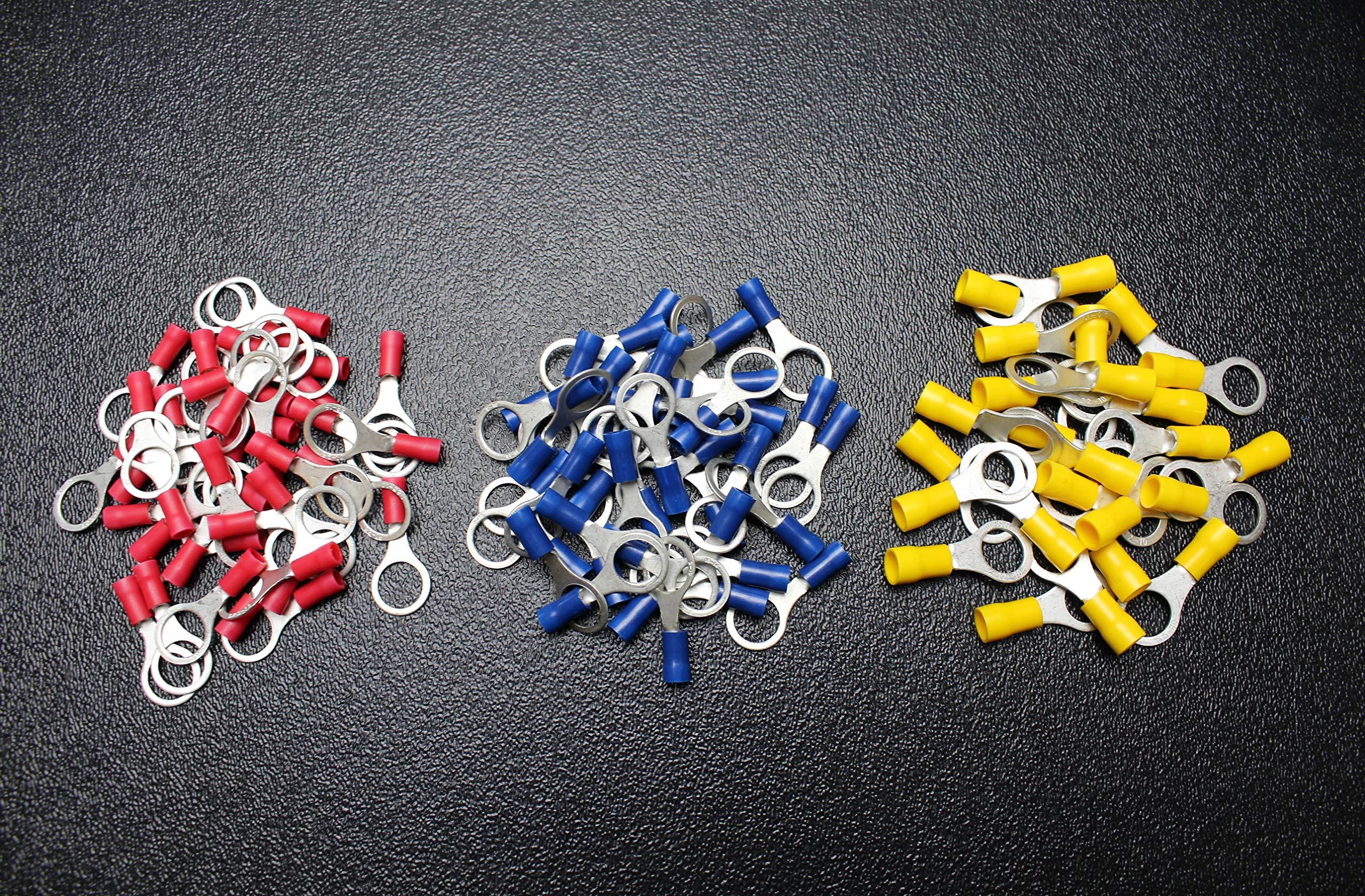 600 PK 10-12 14-16 18-22 Gauge Vinyl Ring CONNECTORS 200 PCS EA Terminal 3/8