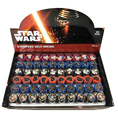 Disney Star Wars Self-inking Stamps Birthday Party Favors 60 Pieces (Complete Box): Toys & Games