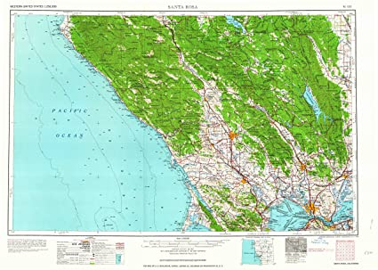 Santa Rosa California Map.Amazon Com Yellowmaps Santa Rosa Ca Topo Map 1 250000 Scale 1 X
