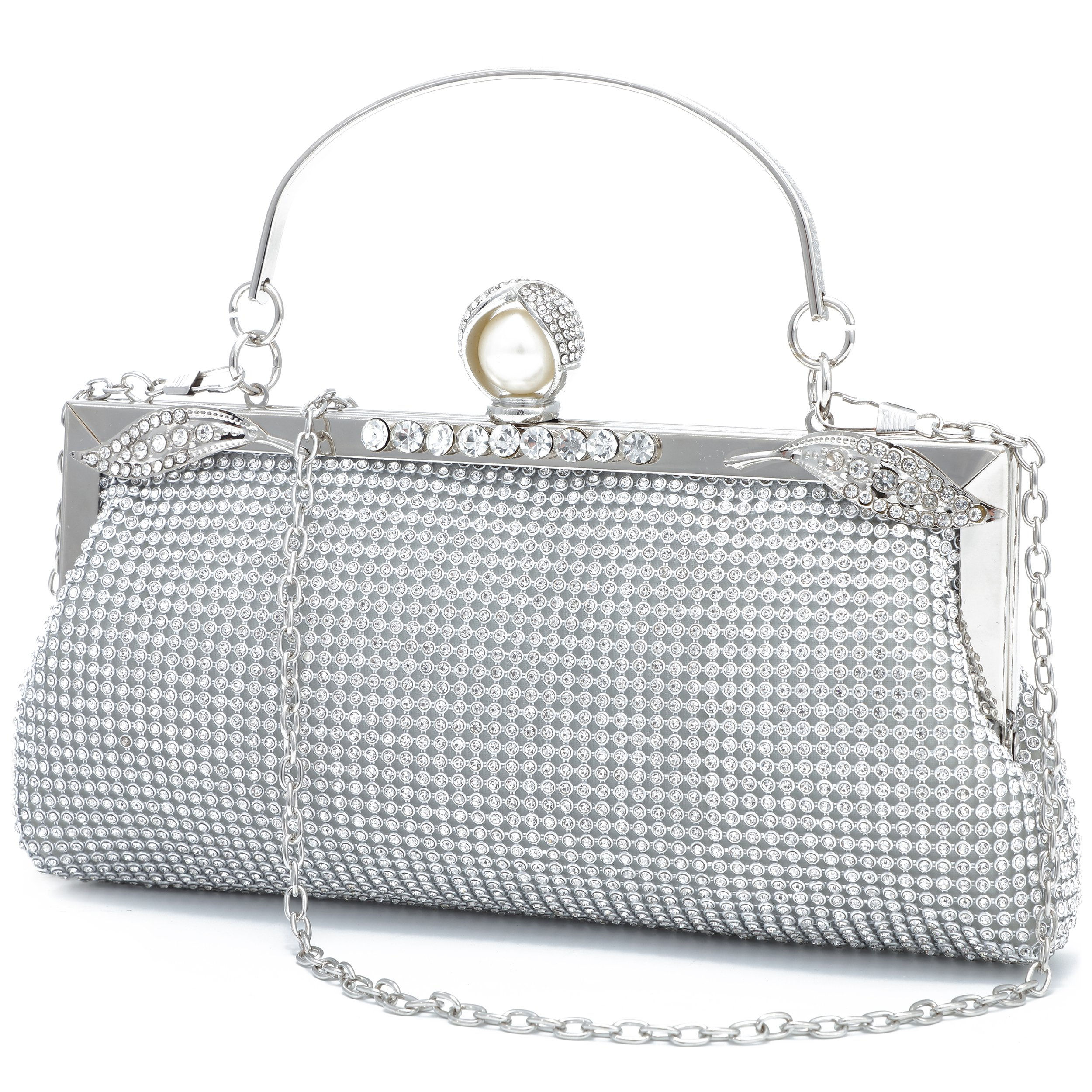 YOJOY Women Evening Handbag Clutch Purse for Wedding Party (Silver)