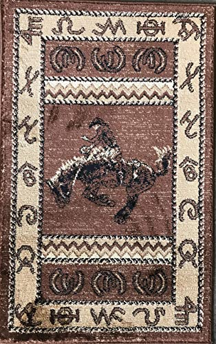Cabin Style Door Mat Area Rug Cowboy Riding Country Lodge Design 370 2 Feet X 3 Feet 2 Inch