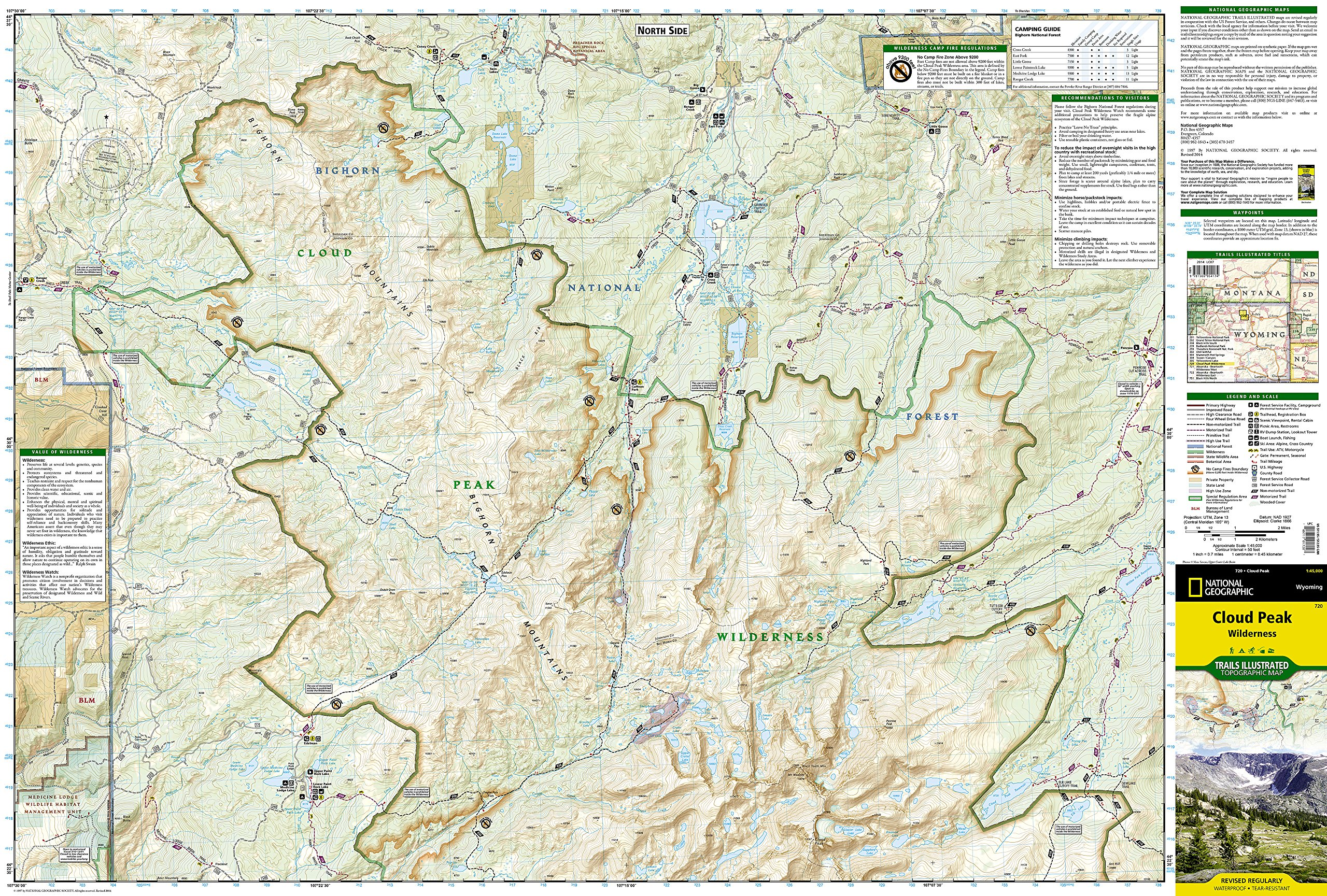 cloud peak wilderness national geographic trails illustrated map