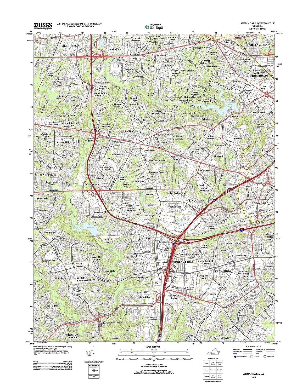Amazon Com Topographic Map Poster Annandale Va Tnm Geopdf 7 5x7