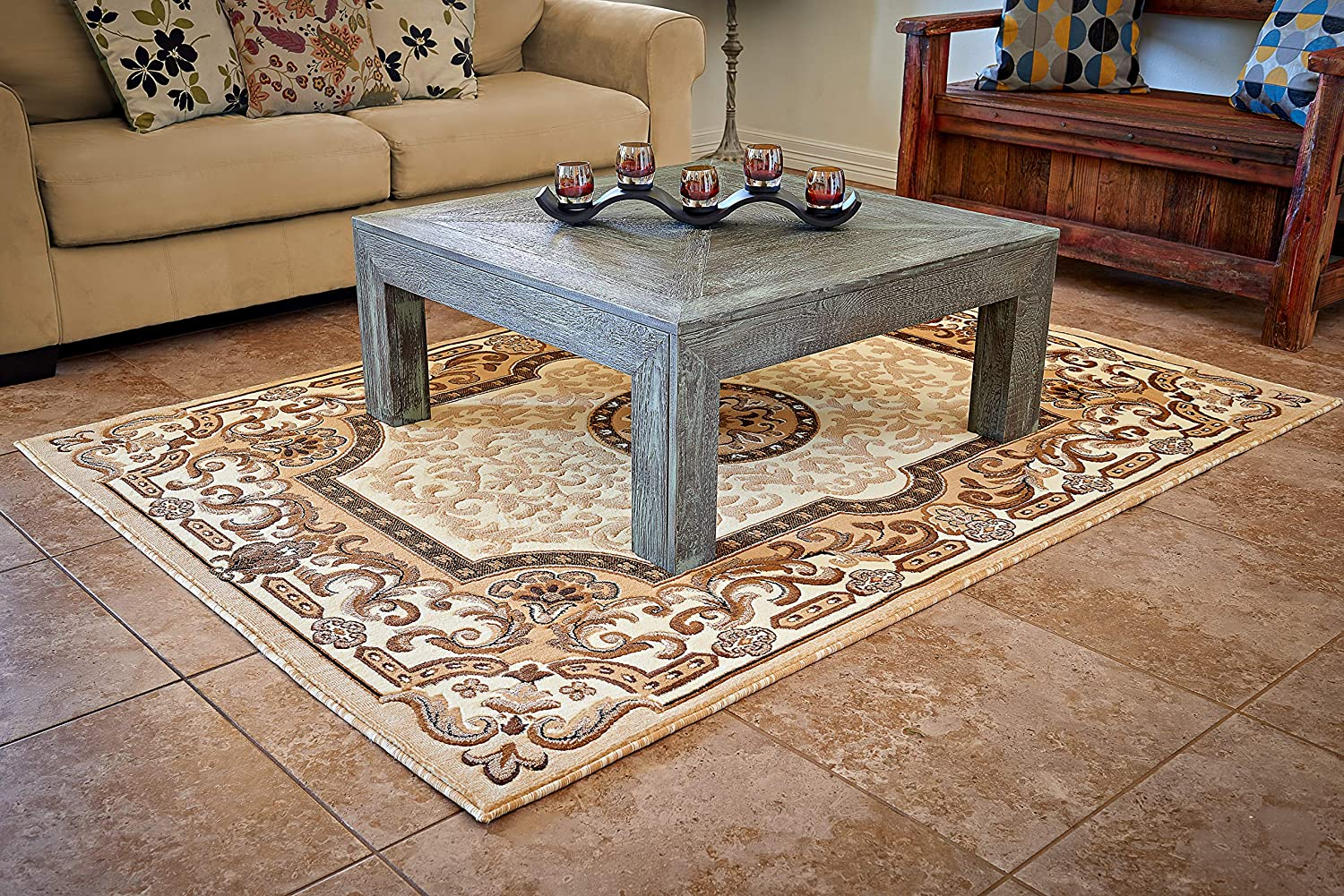 Cosy House Collection Area Rugs for Indoors - Large Rug for Living Room - Traditional Oriental Style Home Decor | Resists Stains, Soil, Fading & Freying - Natural Jute | 5'2