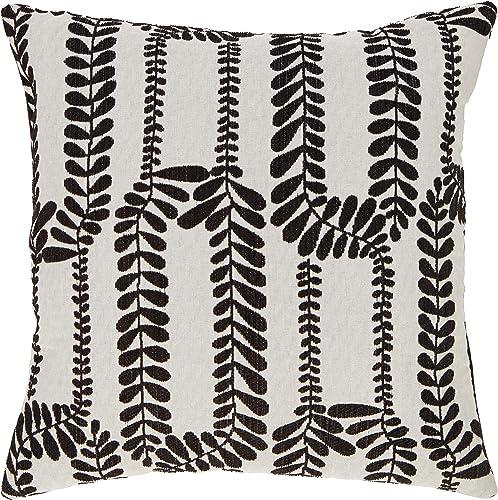 Amazon Brand Stone Beam Contemporary Vine Throw Pillow – 17 x 17 Inch, Black Ivory
