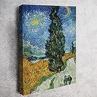 Van Gogh - Selvili ve Yıldızlı Yol - KANVAS TABLO 60 X 90 CM DÜNYA RESSAMLARINDAN AYNI GÜN ÜCRETSİZ KARGO