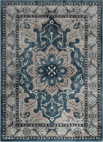 ADGO Fiesta Luxury Collection Modern Contemporary Traditional Design Vivid Color Jute Backed Incredibly Soft and Fluffy Indoor Floor Area Rugs 8 x 10 , FA22 – Blue