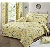 Double Bed Duvet / Quilt Cover Bedding Set Floral Printed Yellow/ Blue/ Green