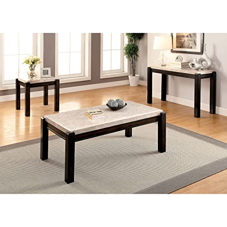 amazon com furniture of america leslie 3 piece genuine marble top