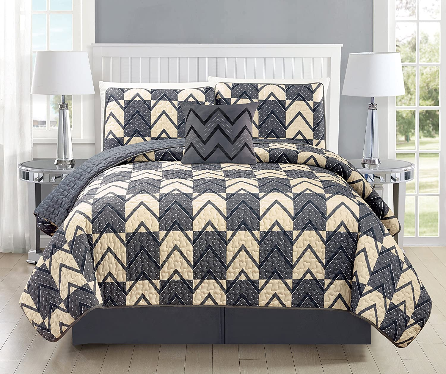 Mk Collection 3pc Bedspread coverlet quilted Modern Taupe Dark Grey/Charcoal Over Size New #184 Full/Queen COMIN18JU051341