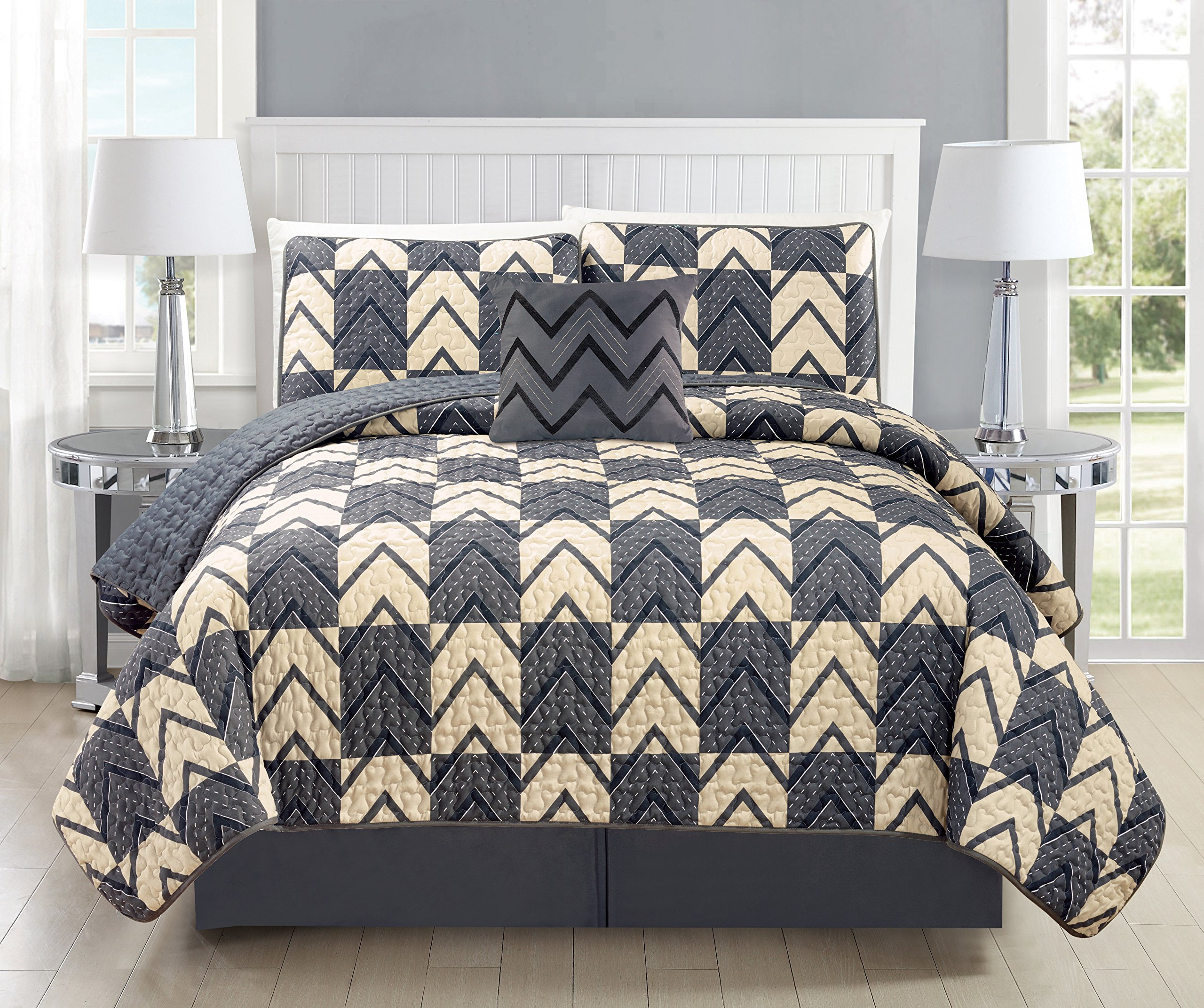 Mk Collection Bedspread coverlet quilted Modern Taupe Dark Grey/Charcoal Over Size New #184 (California King 5 Piece Set) by MK Home