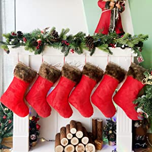 Houwsbaby 6 Pcs Christmas Stockings Kit Traditional Velvet Holders with Brown Faux Fur Cuff Gift Bag for Kids Holiday Xmas Party Accessory Celebrations, Red, 20.5 inches (Large)